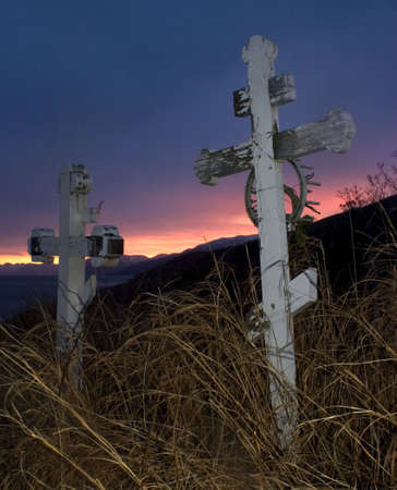 graves and a winter sunset photo
