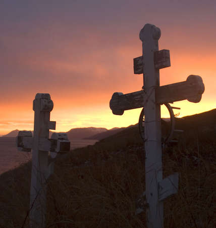 markers at sunset on Kodiak Island Alaska