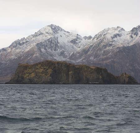 winter coast off Kodiak Island in Alaska photo