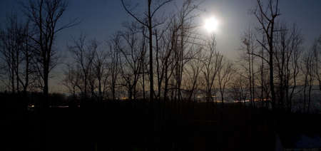 moon setting over the Blue Ridge in Virginia Stock Photo