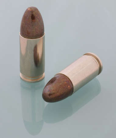 round nose bullets on 9 mm Parabellum cartridges Фото со стока