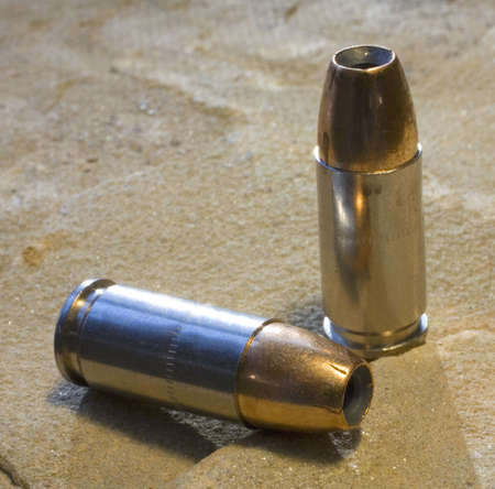 luger: 9 mm Luger ammunition topped with hollow points Stock Photo