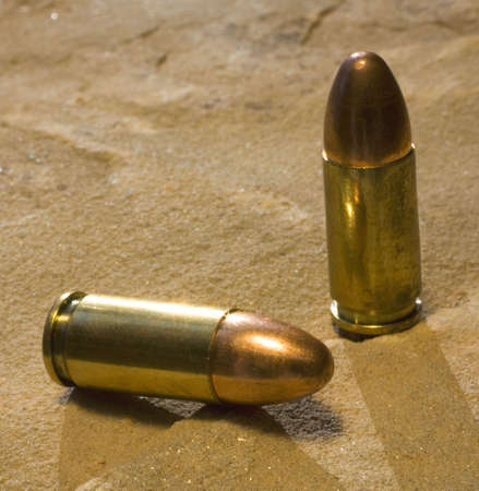 luger: full metal jacketed bullets for a 9 mm Luger  Stock Photo