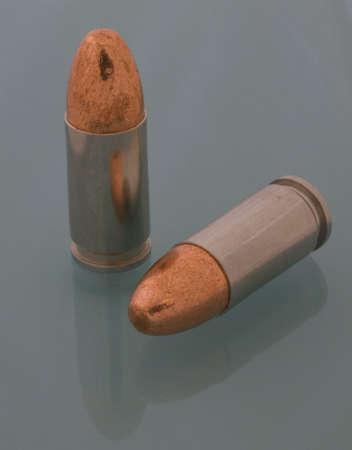 luger: copper bullets on 9 mm Luger aluminum cartridges Stock Photo