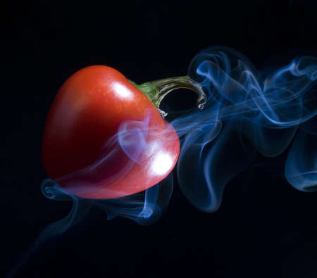 red pepper spicy enough that it is smoking