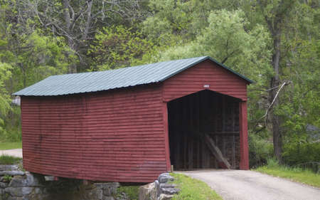 covered bridge': covered bridge that is painted red in a forest
