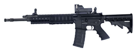 semi automatic rifle known as an AR-15 chambered in .223 Stock Photo