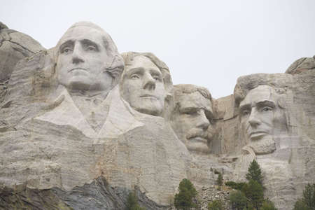 Mount Rushmore in South Dakota on a heavily overcast day Editorial