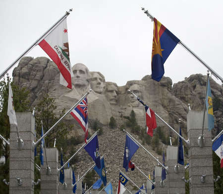 mount rushmore: flag walk that is at Mount Rushmore with state flags Editorial
