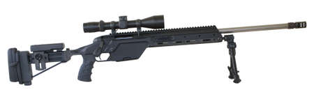 bolt-action rifle with an adjustable stock, bipod and lots of rails
