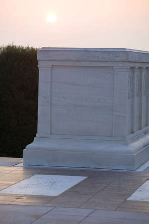 sun rising over the tomb of the unknown soldier in Arlington cemetery