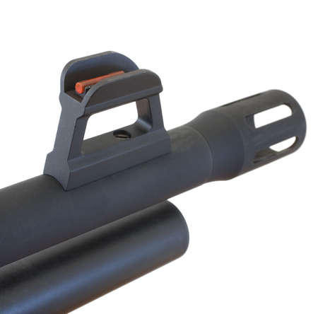 hider: front sight and flash hider on a self defense style shotgun