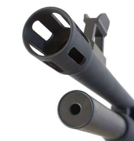 flash hider: Apagallamas de grandes dimensiones, el ca��n y el punto de mira en una escopeta