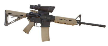 assault rifle that has a scope mounted and an adjustable stock