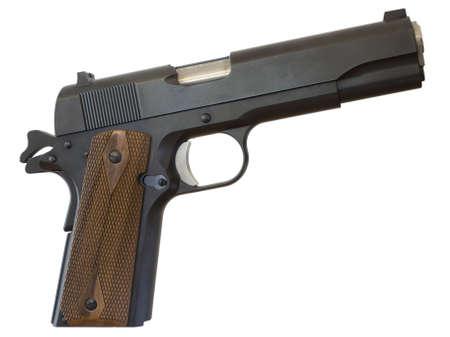 gun barrel: classic 1911 handgun that is isolated on white Stock Photo