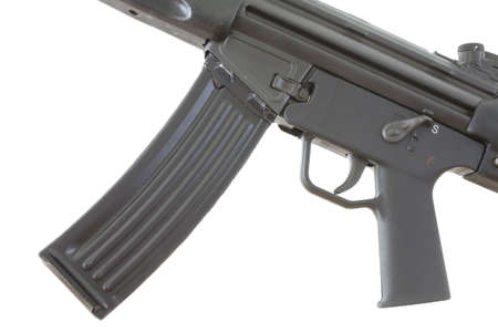 high capacity magazine that is attached to an assault weapon