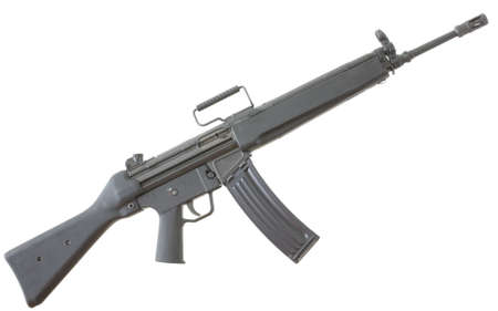assault rifle that is black isolated on white background