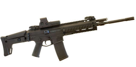 black semi automatic rifle with rails on a white backgroun