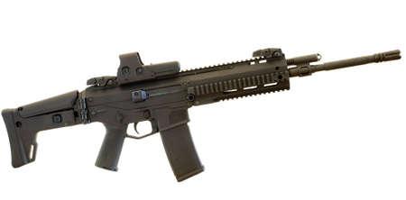 black semi automatic rifle with rails on a white backgroun Stok Fotoğraf - 7059436