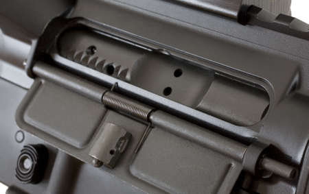 breech: dust cover that covers the breech in an assault rifle Stock Photo