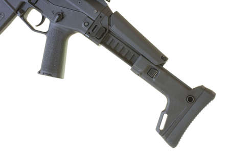 Assault rifle collapsible stock that is fully extended