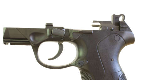 handgun that is made of polymer with the slide removed Stock Photo