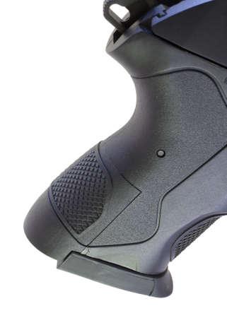 black grip: black grip that is on a polymer framed handgun
