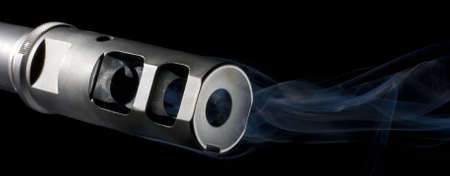 Barrel so hot on an AR that it is smoking Stock Photo
