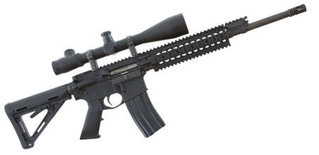 flash hider: Black assault rifle with a scope that is isolated on white Stock Photo