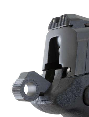 Hammer on a polymer semi auto handgun that is cocked Фото со стока