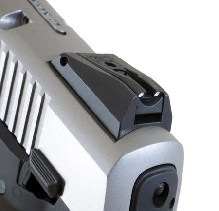 Rear of a semi-automatic handgun with the sight close