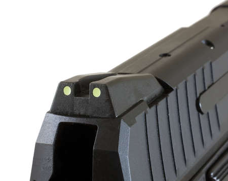 Rear sights at the back of a slide on an automatic handgun