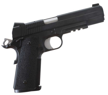 Handgun that has a black finish and grips on a white background Stock Photo - 9997936