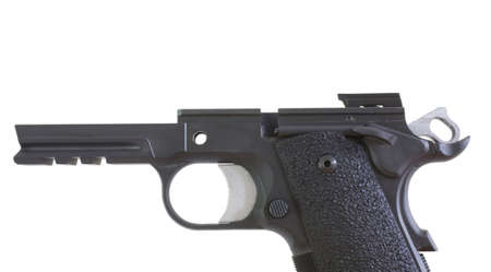 field stripped: Semi automatic handgun that is stripped apart for cleaning