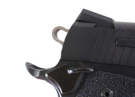 Back of a pistol with the hammer, rear sight and grip safety Stock Photo - 10620341