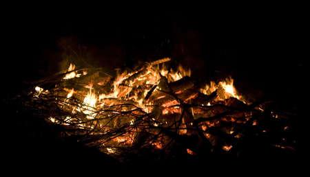 coals: Fire that has burned itself down to just hot coals Stock Photo