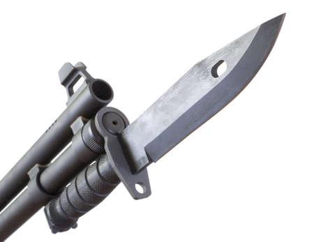 bayonet: Shotgun that has a bayonet mounted near the end of its barrel