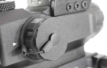 전술 소총의 레티클 밝기 조절 노브 스톡 콘텐츠