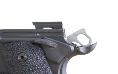 Field stripped semi auto handgun with the extractor showing and hammer Stock Photo - 11013891