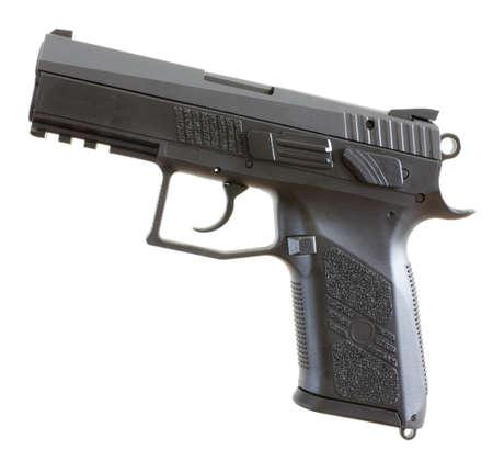 Black and gray semi auto handgun that is isolated on white Stock Photo - 11013890