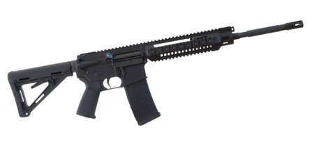 Black assault rifle with an adjustable stock isolated on white Stock Photo - 12250706