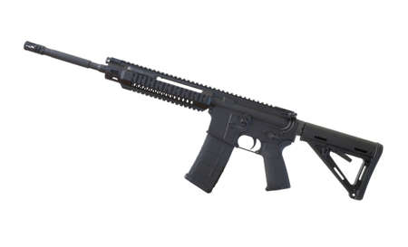 Assault rifle in black that is isolated on a white background