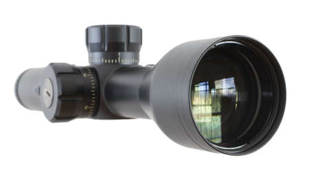 high powered: High powered rifle scope from the objective lens side isolated on white Stock Photo