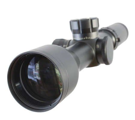 High powered rifle scope that is isolated on a white background