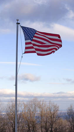American flag waving over the Shenandoah Valley just after sunrise Stock Photo - 13566637