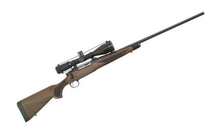 Rifle with a wood stock and riflescope isolated on white