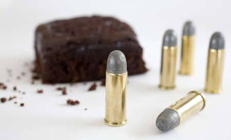crumbling: 44 special ammunition that has a chocolate cake crumbling behind