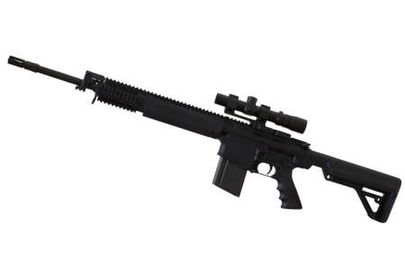 Assault rifle with a scope that is isolated on white Stock Photo - 13925039