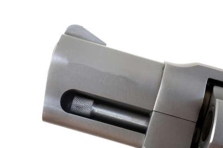 Short barrel on a handgun with the lug that helps it lock up Banco de Imagens