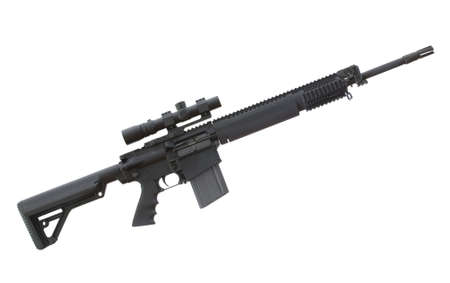 Heavy AR that has an optic on top and plenty of rails